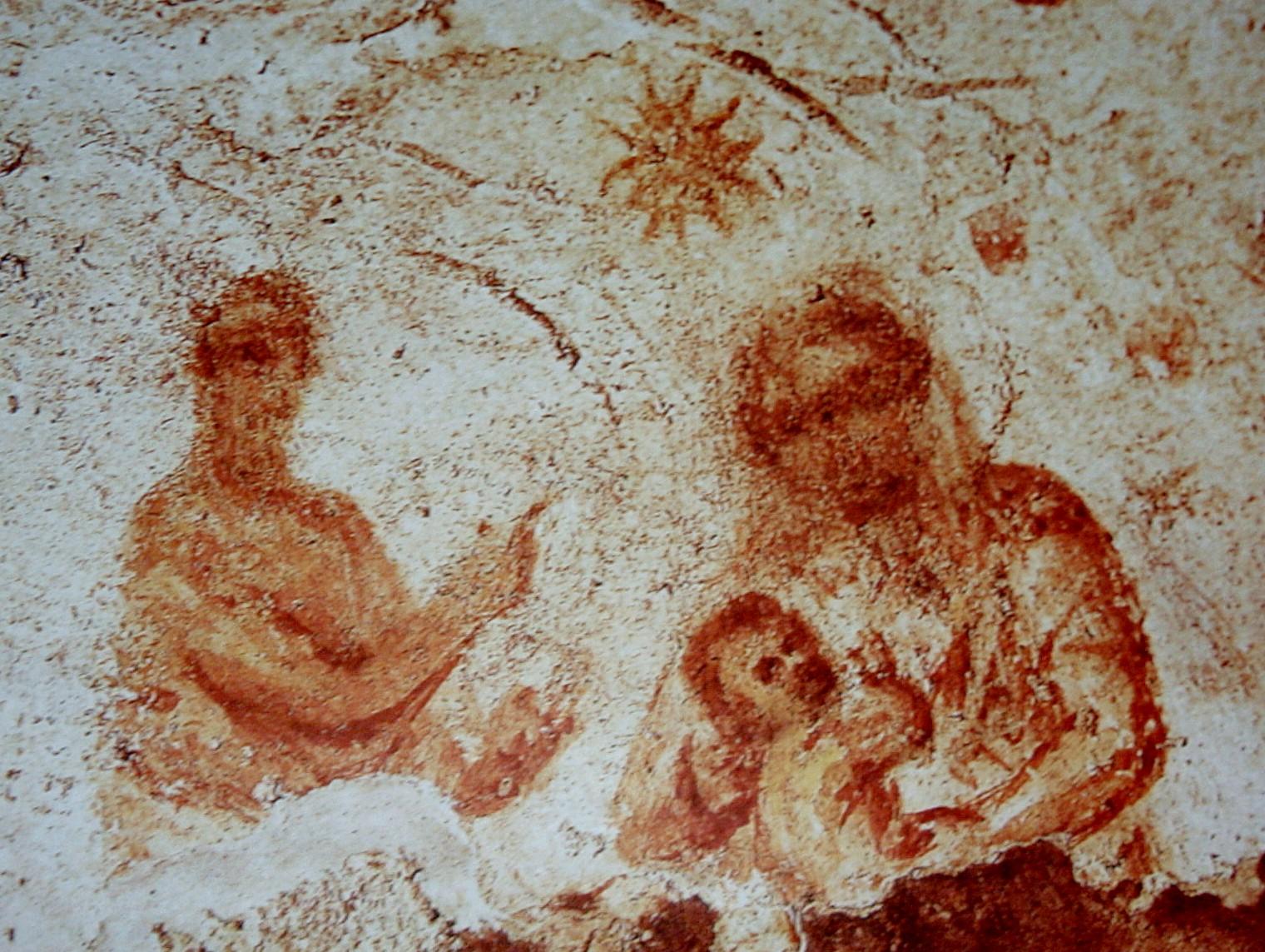 Raffigurazione della Natività nella catacomba di Santa Priscilla (sito da visitare) dans immagini sacre image008