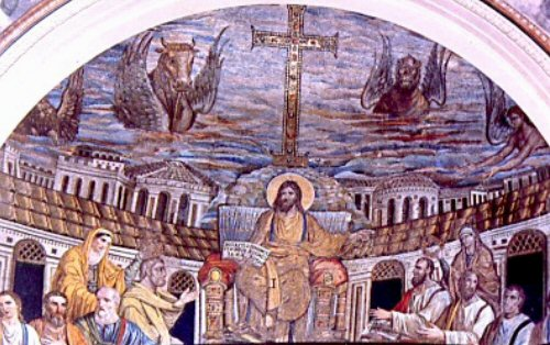 Abside della Basilica romana dei SS Cosma e Damiano ai Fosi con la raffigurazione di Pietro e Paolo dans immagini sacre Immagine12